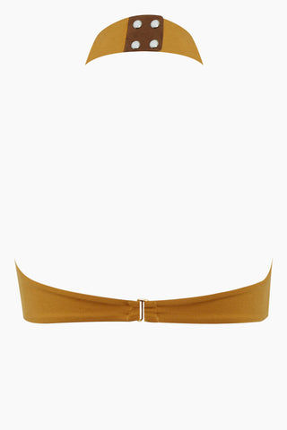 AMAIO SWIM Cafe De Paris High Neck Keyhole Bikini Top - Gold Bikini Top | Gold| Amaio Swim Cafe De Paris High Neck Keyhole Bikini Top - Gold Features:  High neck, keyhole top Mother-of-Pearl snaps at neck  Gold brushed clasp  Hand wash 85% Nylon, 15% Elastane Back View