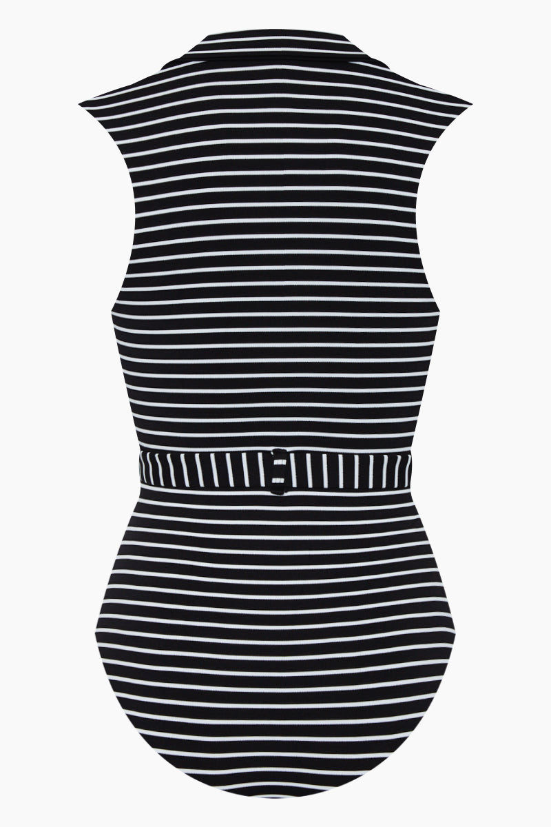 AMAIO SWIM Franz Plunging One Piece Swimsuit - Black & White Stripe Print One Piece | Black & White Stripe Print| Amaio Swim Franz Plunging One Piece Swimsuit - Black & White Stripe Print Features:  Poplin collar Matching belt  Luxe dot fabric Built-in belt detail Moderate coverage. Back View