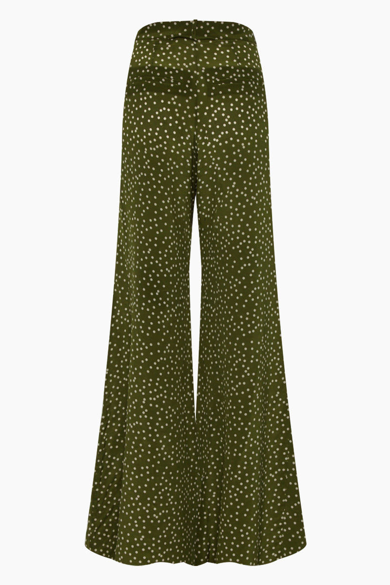 ADRIANA DEGREAS Silk Crepe De Chine Wide Leg Pants - Mille Punti Green Dot Print Pants | Mille Punti Green Dot Print| Adriana Degreas Silk Crepe De Chine Wide Leg Pants - Green Dot Print. Features:  High waisted wide leg pants Perfect for summer days Cut from airy silk Main: 100% silk Back View