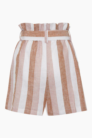 ADRIANA DEGREAS Striped Clochard Shorts - Porto Rose Stripe Print Shorts | Porto Rose Stripe Print| Adriana Degreas Striped Clochard Shorts - Porto Rose Stripe Print. Features:  Adjustable waist tie Relaxed fit Side pockets Main: 100% Cotton Back View