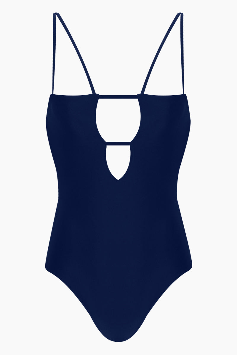 THE ONES WHO Tali Front Cut-Outs One Piece Swimsuit - Navy Blue One Piece | Navy Blue| The Ones Who Tali  Front Cut Outs One Piece Swimsuit - Navy Features:   Plunge neckline  Dual shoulder straps  Back hook closure  Low scoop back  Cheeky - moderate coverage  Made in LA  Fabric: 80% Nylon 20% Elastane  Front View
