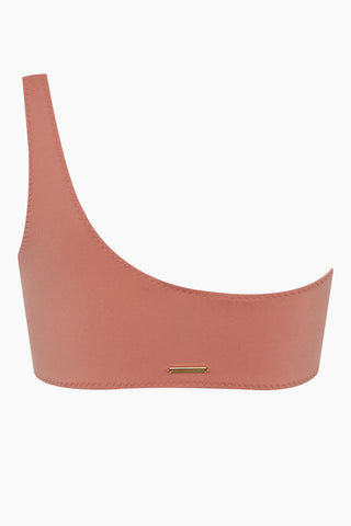 STELLA MCCARTNEY One Shoulder Bikini Top - Antique Rose Pink Bikini Top | Antique Rose Pink| Stella McCartney One Shoulder Bikini Top - Antique Rose Pink Features:   One shoulder strap  Darted seams Back View