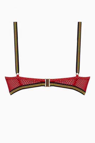 STELLA MCCARTNEY Bralette Mesh Triangle Bikini Top - Red Bikini Top | Red| Stella McCartney Bralette Mesh Triangle Bikini Top - Red Triangle bikini top  V neckline Mesh sides  Back View