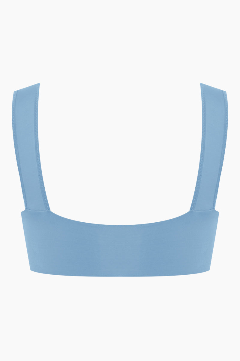 CLUBE BOSSA Sober Weaving Bralette Bikini Top - Riviera Blue Bikini Top | Riviera Blue| Clube Bossa Sober Weaving Bralette Bikini Top - Riviera Blue Features:  Bralette  Front cut out detail Center weaving detail Thick shoulder straps Back View