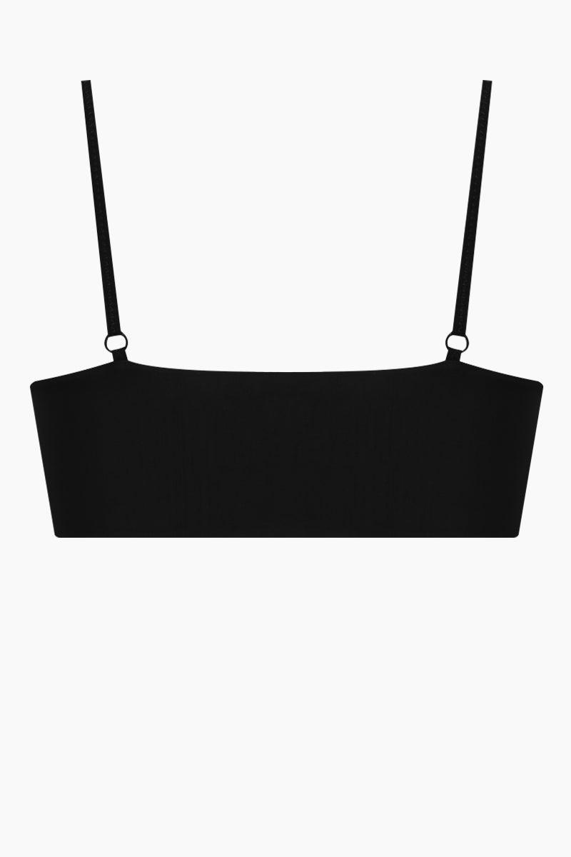 CLUBE BOSSA Havel Weaving Front Tie Bikini Top - Black Bikini Top | Black| Clube Bossa Havel Weaving Front Tie Bikini Top - Black Bralette style Front tie closure Weaving detail  Back View