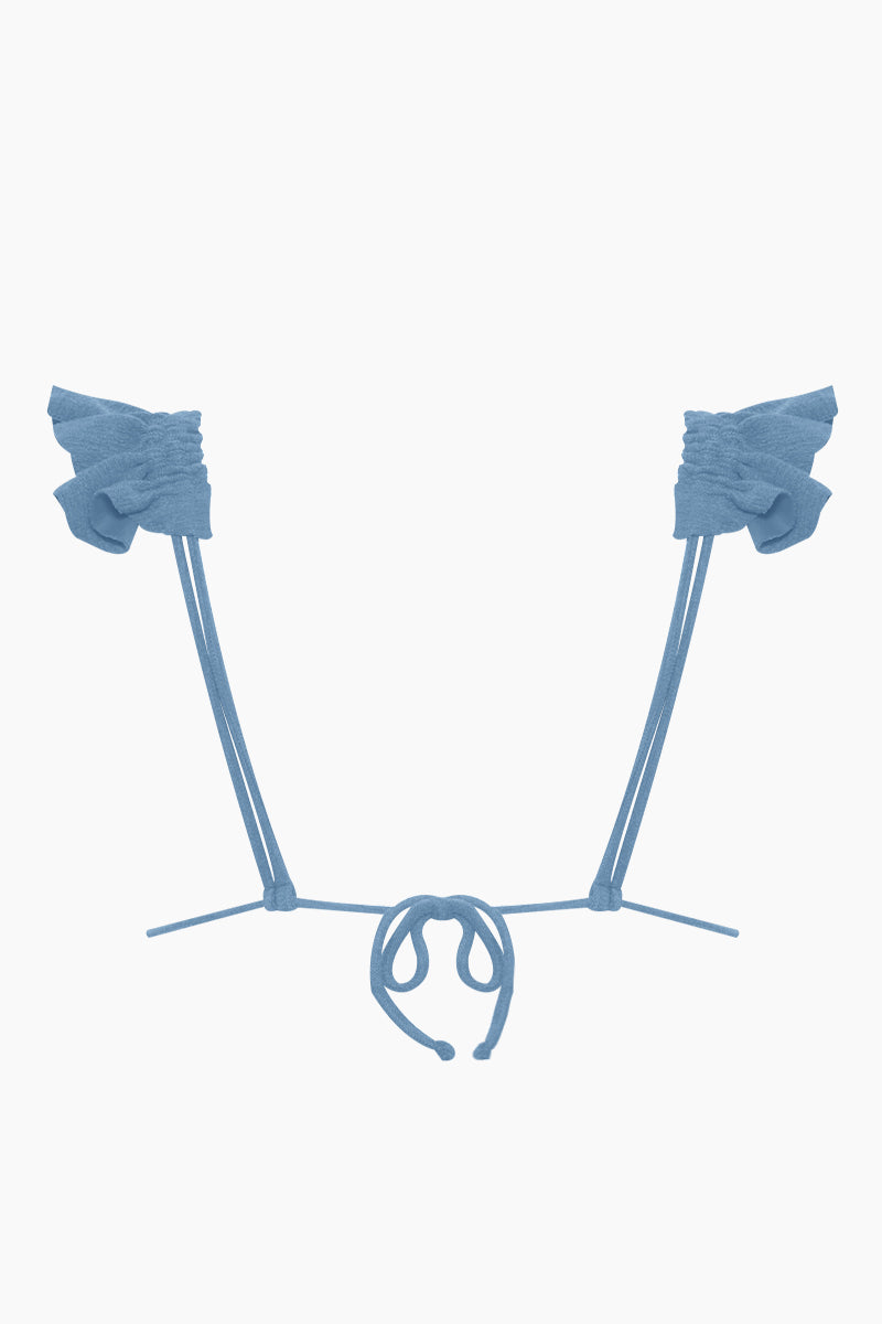 CLUBE BOSSA Laven Ruffle Triangle Bikini Top - Riviera Blue Bikini Top | Riviera Blue| Clube Bossa Laven Ruffle Triangle Bikini Top - Riviera Blue. Features:  Blue triangle top Ruffle shoulder straps Textured fabric Back View
