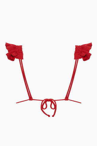CLUBE BOSSA Laven Ruffle Triangle Bikini Top - Pepper Red Bikini Top | Pepper Red| Clube Bossa Laven Ruffle Triangle Bikini Top - Pepper Red Red triangle top Ruffle shoulder straps Back View