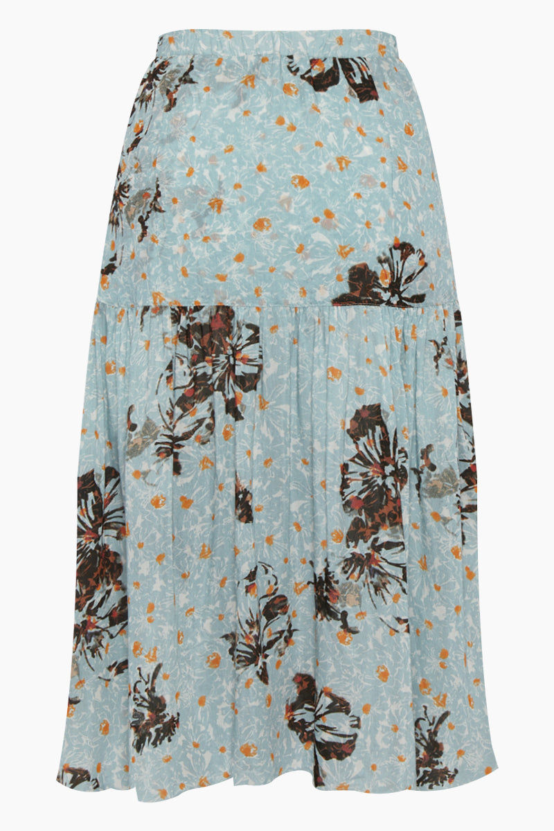 CLUBE BOSSA Fara High Waist Midi Skirt - Blue Fleur Print Skirt | Blue Fleur Print| Clube Bossa Fara High Waist Midi Skirt - Blue Fleur Print Midi skirt High waist Front tie closure Front button closure Ruffle side detail Front View