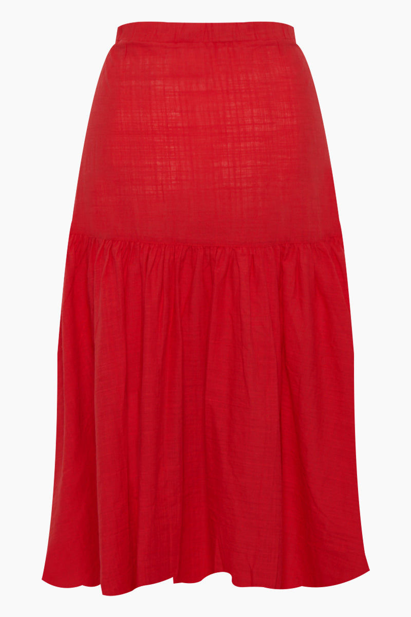 CLUBE BOSSA Fara High Waist Midi Skirt - Pepper Red Skirt | Pepper Red| Clube Bossa Fara High Waist Midi Skirt - Pepper Red. Features:  Midi red skirt Mid rise Drawstring waist Side pockets Front button fastening Ruched detail Loose fit Back View