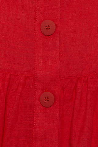 CLUBE BOSSA Fara High Waist Midi Skirt - Pepper Red Skirt | Pepper Red| Clube Bossa Fara High Waist Midi Skirt - Pepper Red. Features:  Midi red skirt Mid rise Drawstring waist Side pockets Front button fastening Ruched detail Loose fit Detail View