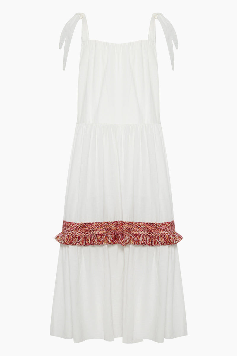 CLUBE BOSSA Bolkan Shoulder Tie Button Front Maxi Dress -  White & Jazzy Fringes Red Dress | White & Jazzy Fringes Red| Clube Bossa Bolkan Shoulder Tie Button Front Maxi Dress -  White & Jazzy Fringes Red Features:  Square neckline white long dress Shoulder tie straps Buttoned design Loose fit Back View