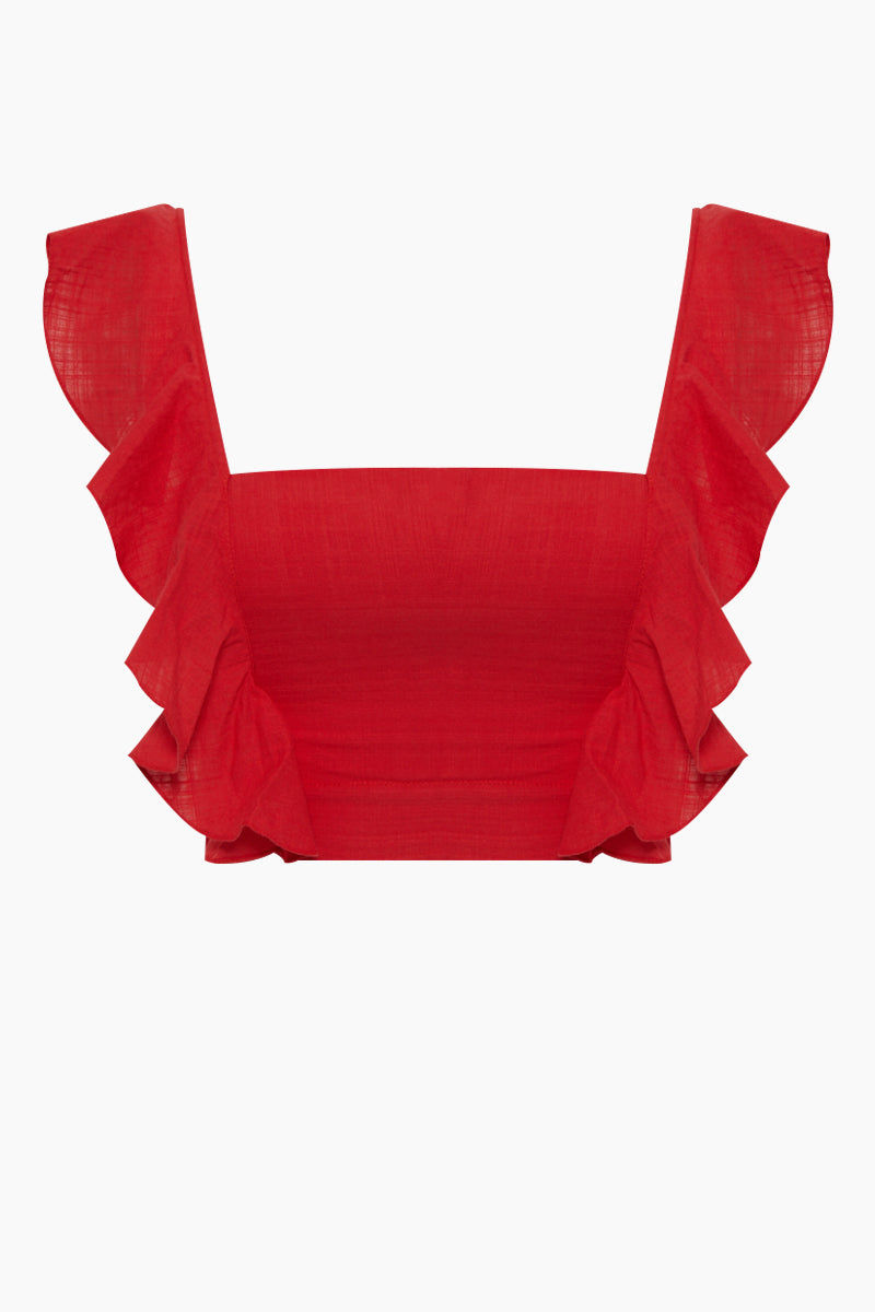 CLUBE BOSSA Lubba Cropped Blouse - Pepper Red Top | Pepper Red| Clube Bossa Lubba Cropped Blouse - Pepper Red. Features:  Square neckline Ruffle shoulders Back lace-up fastening 100% Cotton Front View