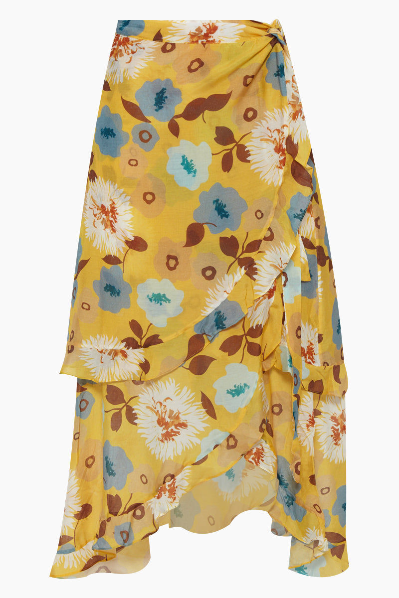 CLUBE BOSSA Sania Hi Lo Skirt - Cristal La Beija Floral Print Skirt | Cristal La Beija Floral Print| Clube Bossa Sania Hi Lo Skirt - Cristal La Beija Floral Print. Features:  High rise skirt Yellow floral print Mid-length Ruffle details Front View