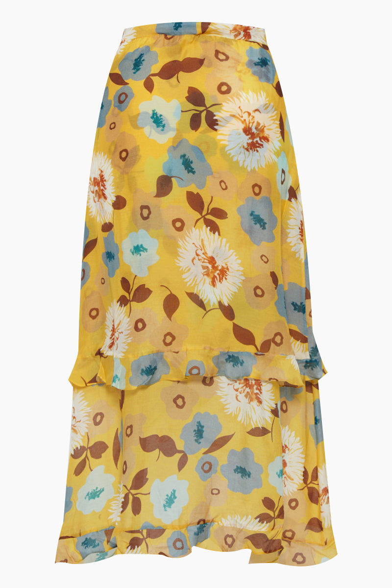 CLUBE BOSSA Sania Hi Lo Skirt - Cristal La Beija Floral Print Skirt | Cristal La Beija Floral Print| Clube Bossa Sania Hi Lo Skirt - Cristal La Beija Floral Print. Features:  High rise skirt Yellow floral print Mid-length Ruffle details Back View