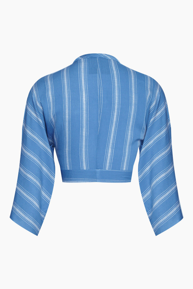 BLUE LIFE Wrap Cropped Top - Bluebell Boho Stripes Print Top | Bluebell Boho Stripes| Blue Life Wrapped Top - Bluebell Boho Stripes