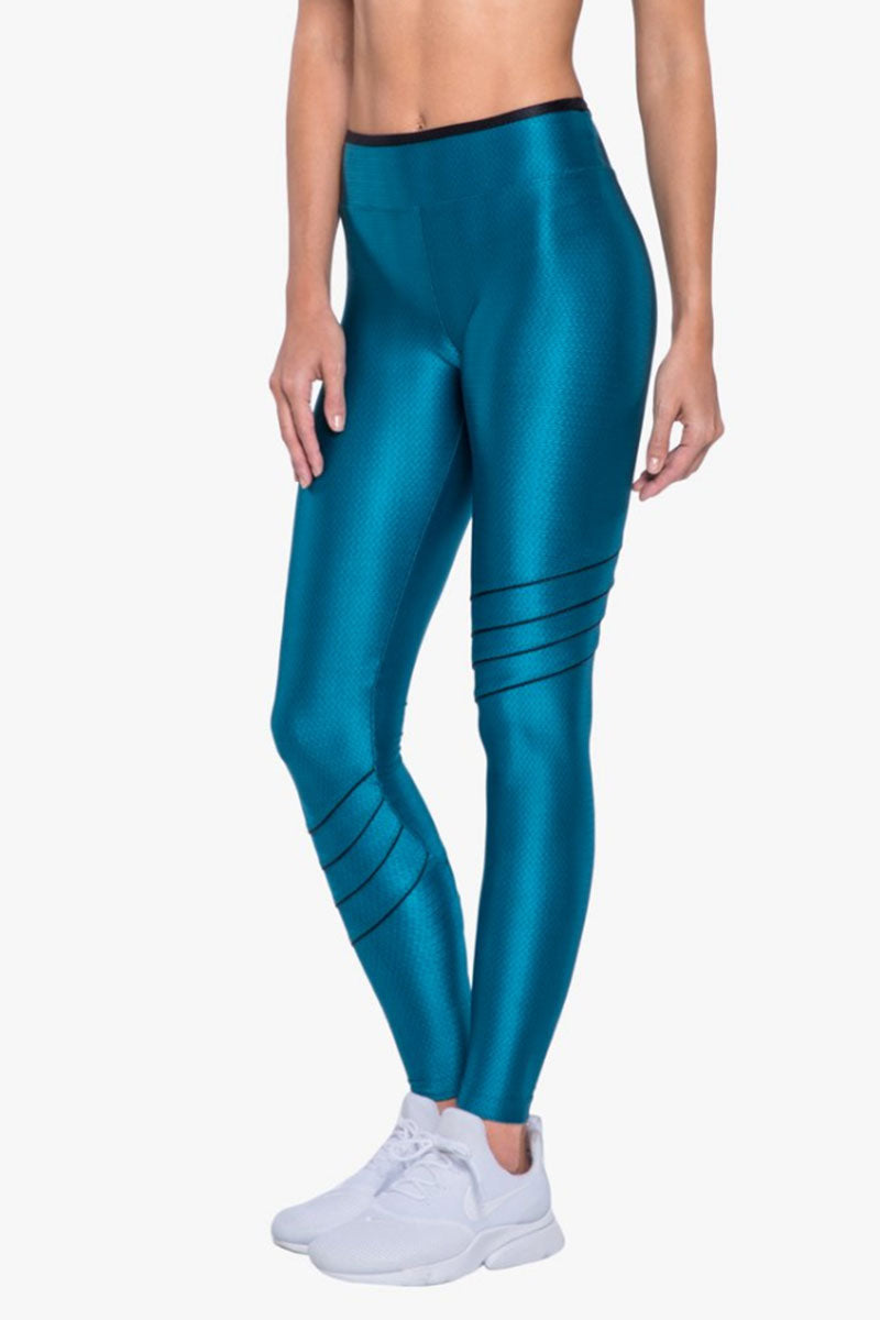 KORAL Illicit High Rise Legging - Calypso Leggings |  Calypso| Koral Illicit High Rise Legging - Calypso. Features:  High Rise Leggings  Piping Side Detail  Made in USA Front View