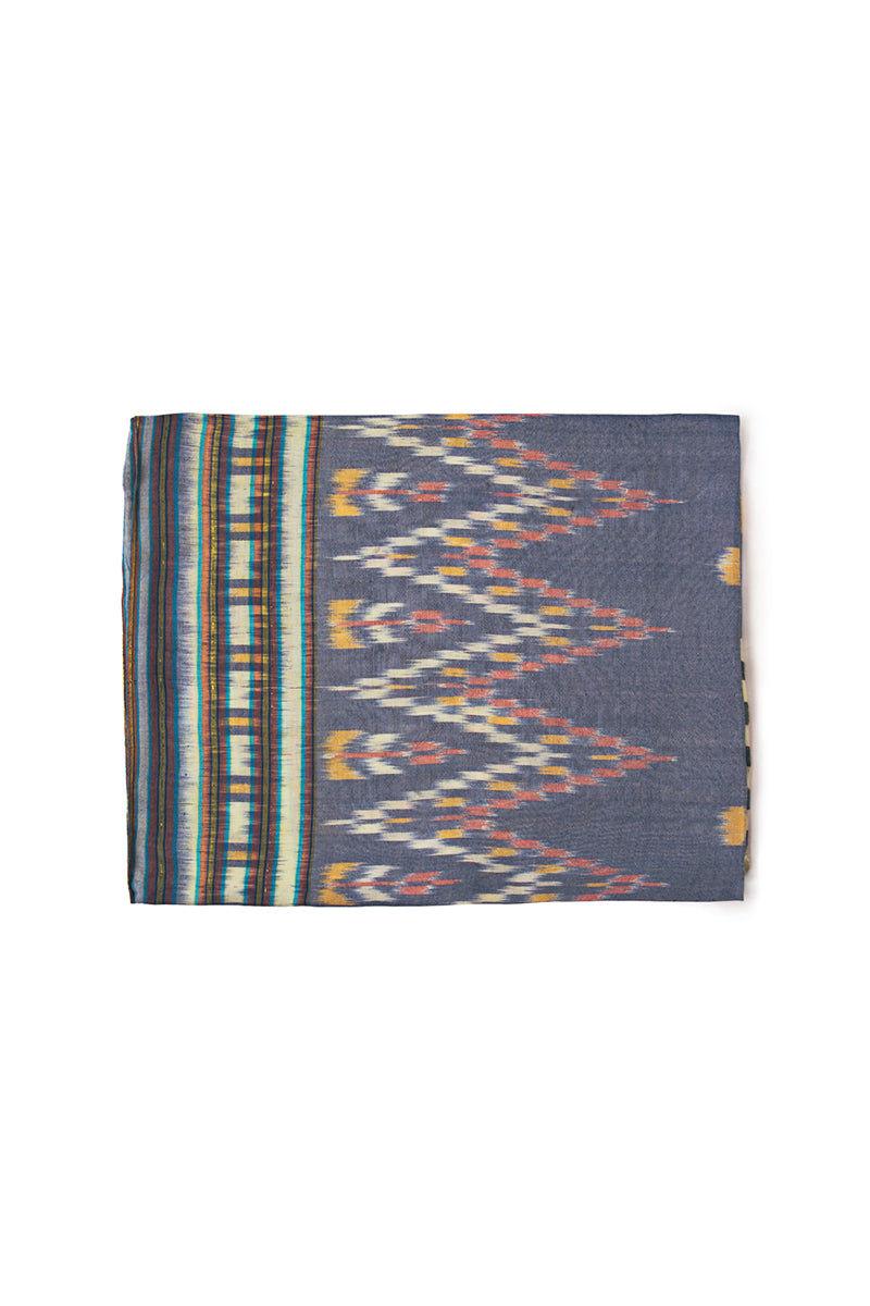 VAGABONDS GOODS Indigo Sarong Cover Up | Indigo| Vagabond Goods Indigo Sarong Versatile Ikat Print Handwoven Sarong Coverup Indigo Blue Comes in Canvas Bag