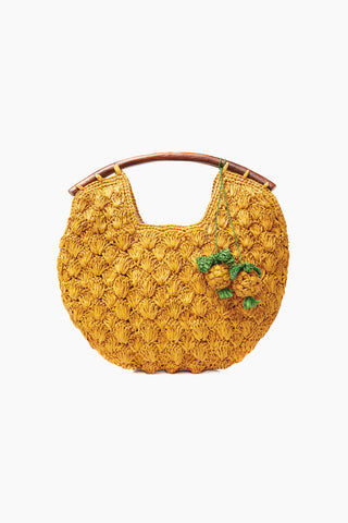 MAR Y SOL Isla Crocheted Raffia Clutch W/ Wooden Handles And Pineapple Charms - Sunflower Bag | Sunflower| MAR Y SOL Isla Crocheted Raffia Clutch W/ Wooden Handles And Pineapple Charms Front View