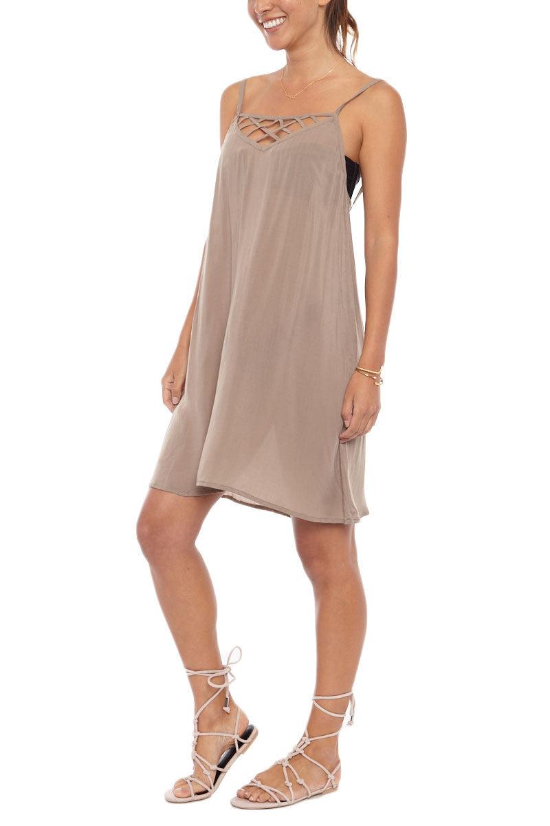 ISSA DE' MAR Hina Caged Mini Dress - Tan Dress | Tan| Issa De Mar Hina Mini Dress