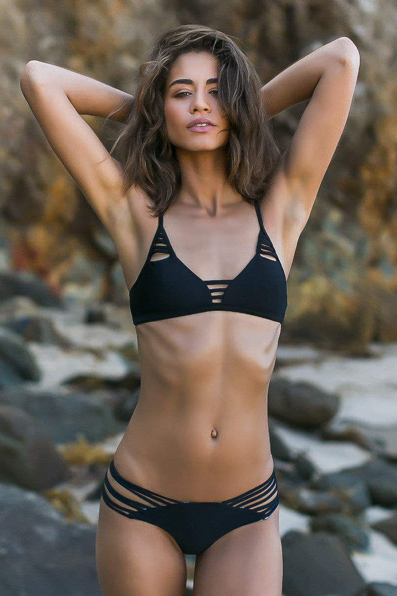 ISSA DE' MAR Sunset Reversible Strappy Brazilian Bikini Bottom - Black/Geometric Bikini Bottom | Reversible Black/Tribal| Issa De' Mar Sunset Reversible Bikini Bottom| Rachel