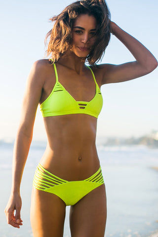 ISSA DE' MAR Sunset Reversible Strappy Brazilian Bikini Bottom - Neon/Shark Bikini Bottom | Reversible Neon/Shark| Issa De' Mar Sunset Reversible Bikini Bottom| Rachel