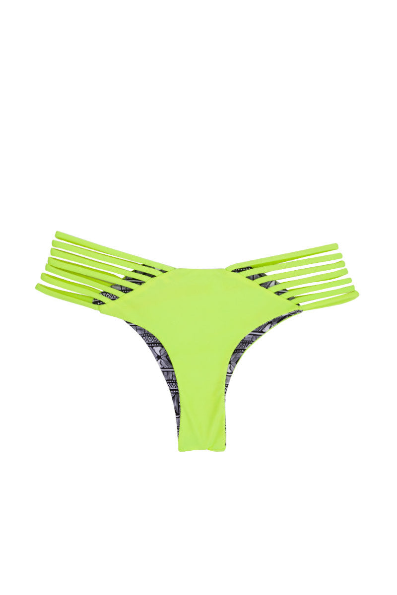 ISSA DE' MAR Sunset Reversible Strappy Brazilian Bikini Bottom - Neon/Shark Bikini Bottom | Reversible Neon/Shark| Issa De' Mar Sunset Reversible Bikini Bottom
