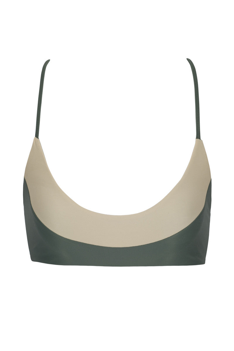 ISSA DE' MAR Bondi Color Block Bralette Bikini Top - Mauka Green/Tan Bikini Top | Mauka Green/Tan| Issa De' Mar Bondi Color Block Bralette Bikini Top - Mauka Green/Tan Sexy, minimalist bralette-style bikini top. Color blocked detail in the front is in a honey nude shade and classic black. Scoop neckline exposes your décolletage and shows off your cleavage. Lightly ribbed fabric for a luxe athleisure finish. The spaghetti shoulder straps are adjustable, allowing you to fine tune them for the perfect fit. Ladder strap detailing Front View