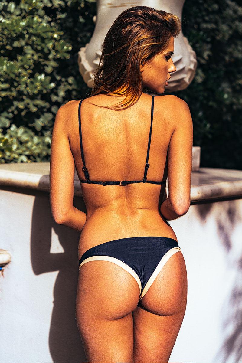 ISSA DE' MAR Coco Skimpy Bikini Bottom - Night Bikini Bottom | Night/Tan| Issa De Mar Coco Skimpy Bikini Bottom