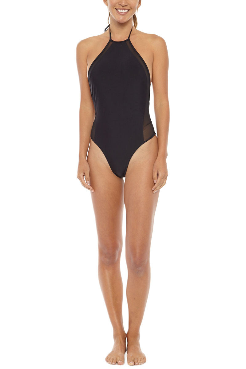 ISSA DE' MAR Brooklyn Mesh High Neck One Piece Swimsuit - Black One Piece | Black|Issa de Mar Brooklyn Mesh High Neck One Piece Swimsuit - Black Adjustable halter style ties at the neck allow for the perfect fit and lift while the high neckline helps frame your face.  Mesh cut out side panels that start at the neckline and finish off at center back scoop at the bust  Front View