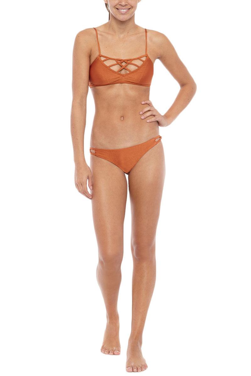 ISSA DE' MAR Hina Caged Bikini Top - Copper Bikini Top   Copper  Issa De Mar Hina Caged Bikini Top - Copper