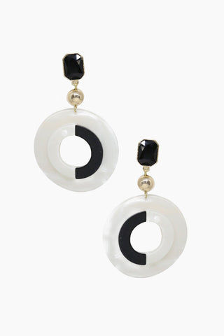 ETTIKA It's All Black And White Earrings - Black & White Jewelry | Black & White| Ettika It's All Black And White Earrings - Black & White Full View Dangling Earrings Black Stone Detail  Hoop Shaped Detail 18kt Gold Plated Brass Surgical Steel Posts Nickel Free Length: 3 Inches