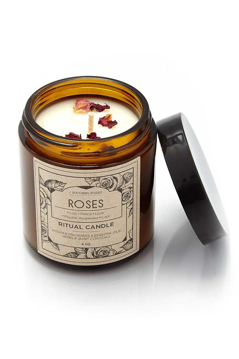 J. SOUTHERN STUDIO Glass Roses Ritual Candles Home | Glass Roses Ritual Candles