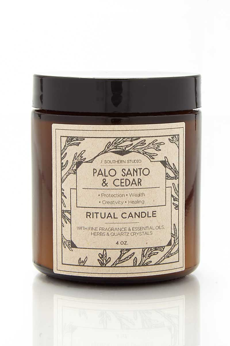 J. SOUTHERN STUDIO Glass Palo Santo & Cedar Candles Home | Glass Palo Santo & Cedar Candles