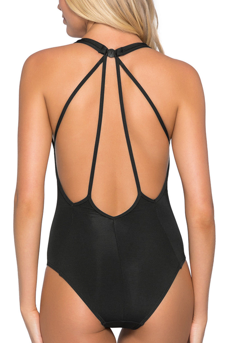 JETS Plunge One Piece Swimsuit - Black One Piece | Black|Plunge One Piece Swimsuit - Features:  Deep plunge neckline Low open back Multi-strap back detail Back neck clip Best suited for an A-C cup size