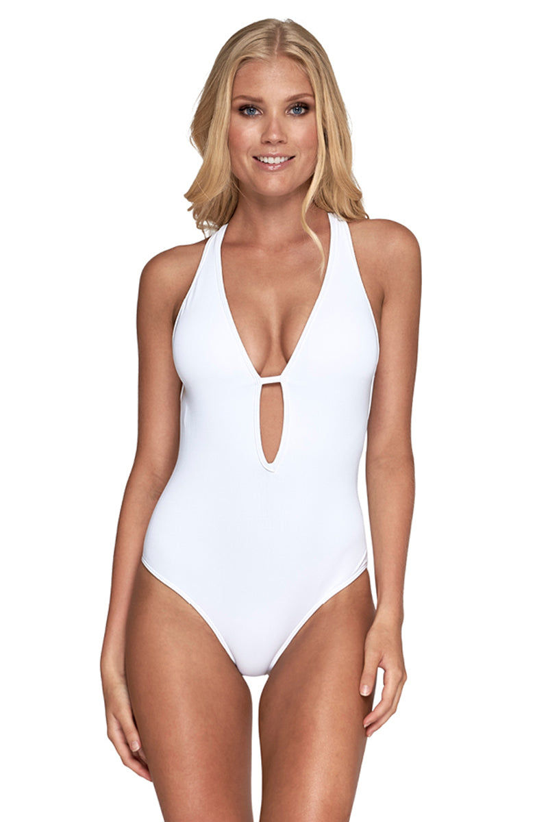 JETS Plunge One Piece Swimsuit - White One Piece | White|Plunge One Piece Swimsuit - Features:  Deep plunge neckline Low open back Multi-strap back detail Back neck clip Best suited for an A-C cup size