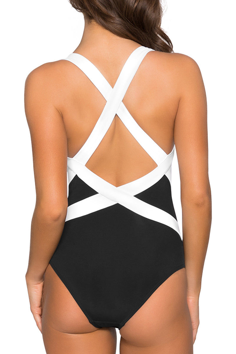 JETS Low Back Infinity One Piece Swimsuit - Black/White One Piece | Black/White|Low Back Infinity One Piece Swimsuit - Features:  Infinity moulded cup Shelf bra for added support Contrast panel detail Wide banded straps Low V-shaped back Best suited for an A-C cup size