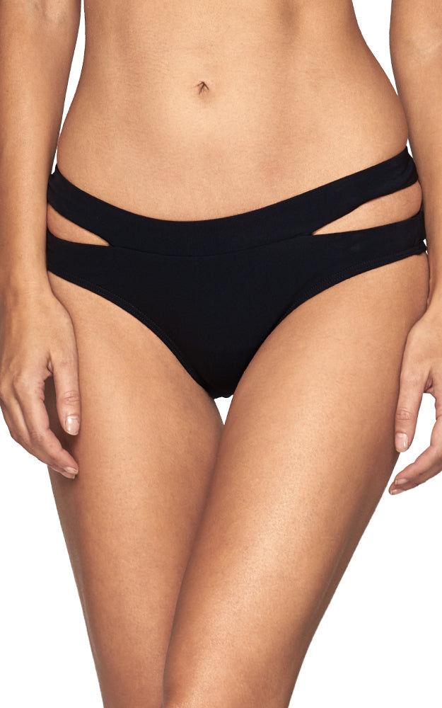 JETS Banded Cut Out Bikini Bottom - Black Bikini Bottom | Black|Banded Cut Out Bikini Bottom - Features:  Double side bands black bikini bottom Hipster coverage Mid rise