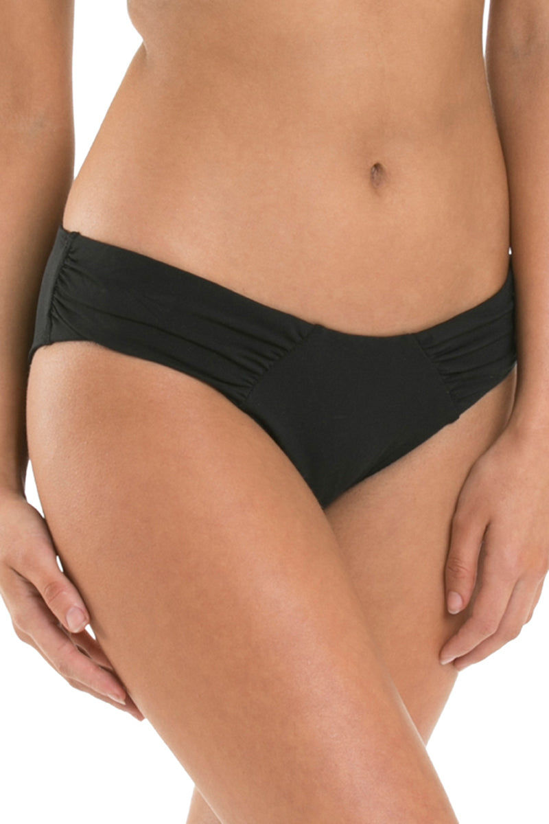 JETS Gathered Side Bikini Bottom - Black Bikini Bottom | Black| Jets Gathered Side Bikini Bottom - Black Hipster  Gathered side panel detail Seamless look front waist and legline Full coverage Nylon Microfibre Lycra® Xtra Life  Front View