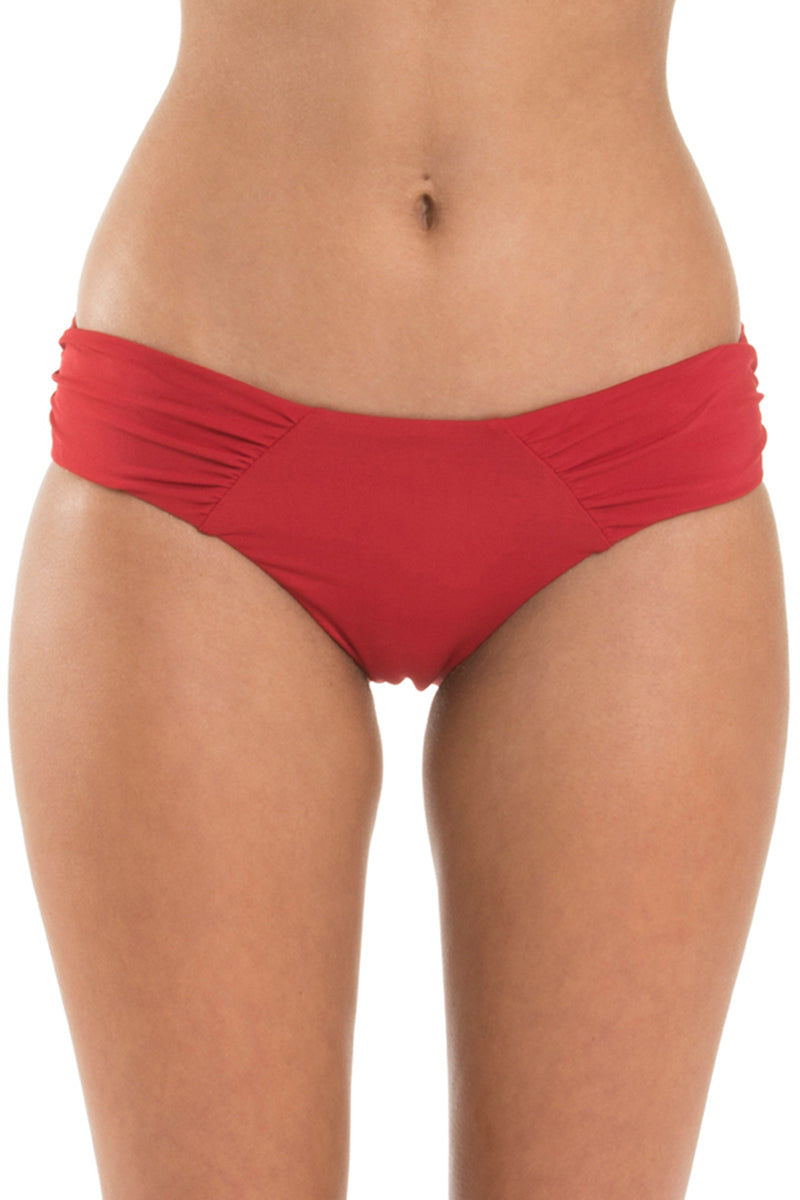 JETS Gathered Side Bikini Bottom - Chili Bikini Bottom | Chili| Jets Gathered Side Bikini Bottom - Chili Hipster  Gathered side panel detail Seamless look front waist and legline Full coverage Nylon Microfibre Lycra® Xtra Life  Front View