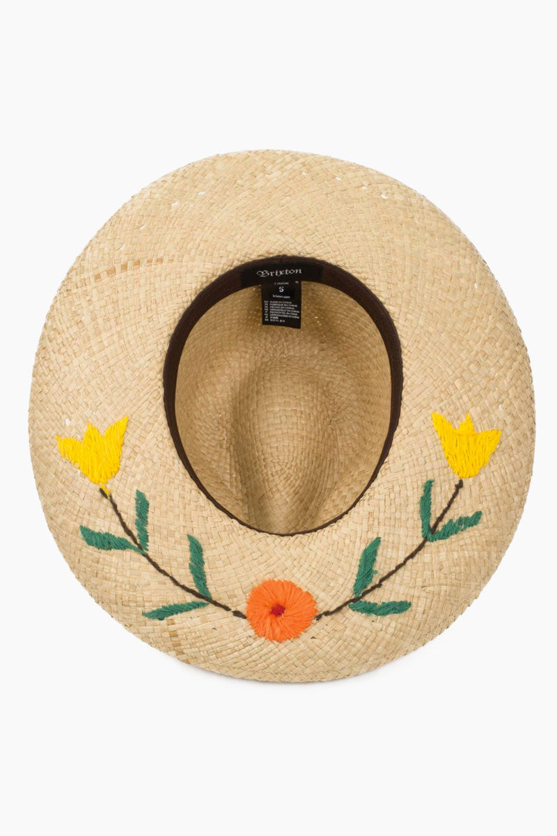 BRIXTON Jenna II Floral Straw Fedora - Tan Hat | Tan| Brixton Jenna II Fedora - Tan Wide-brim sombrero-inspired straw hat Custom yarn-embroidered art on top and bottom of brim Front View