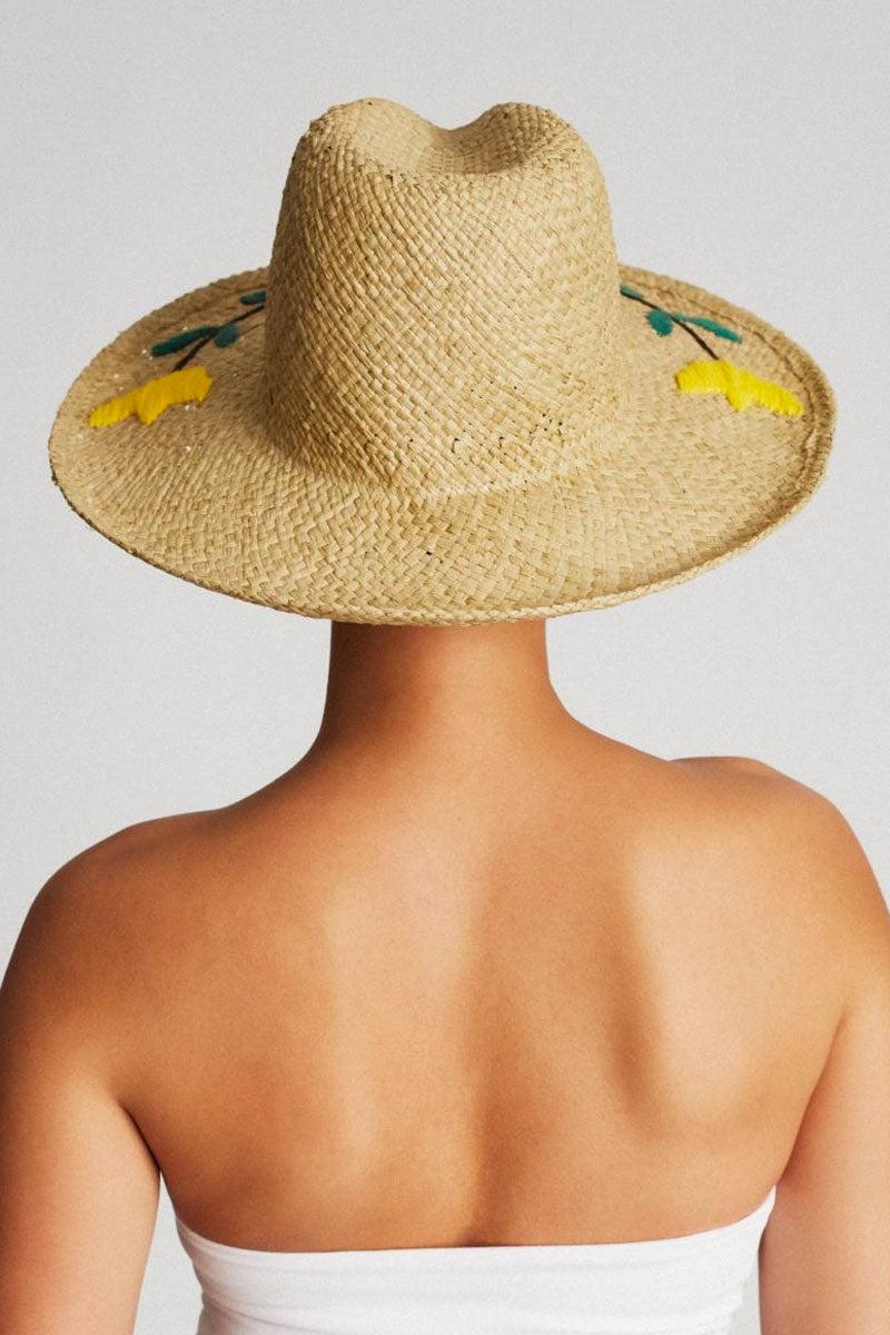 526013033e8a9 ... BRIXTON Jenna II Floral Straw Fedora - Tan Hat