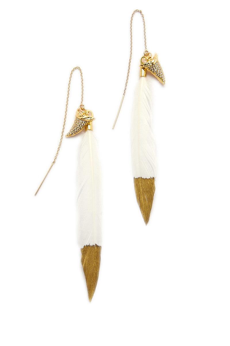 BLAINE BOWEN Jaws Earrings Jewelry | Gold Feather| Blaine Bowen Jaws Earrings