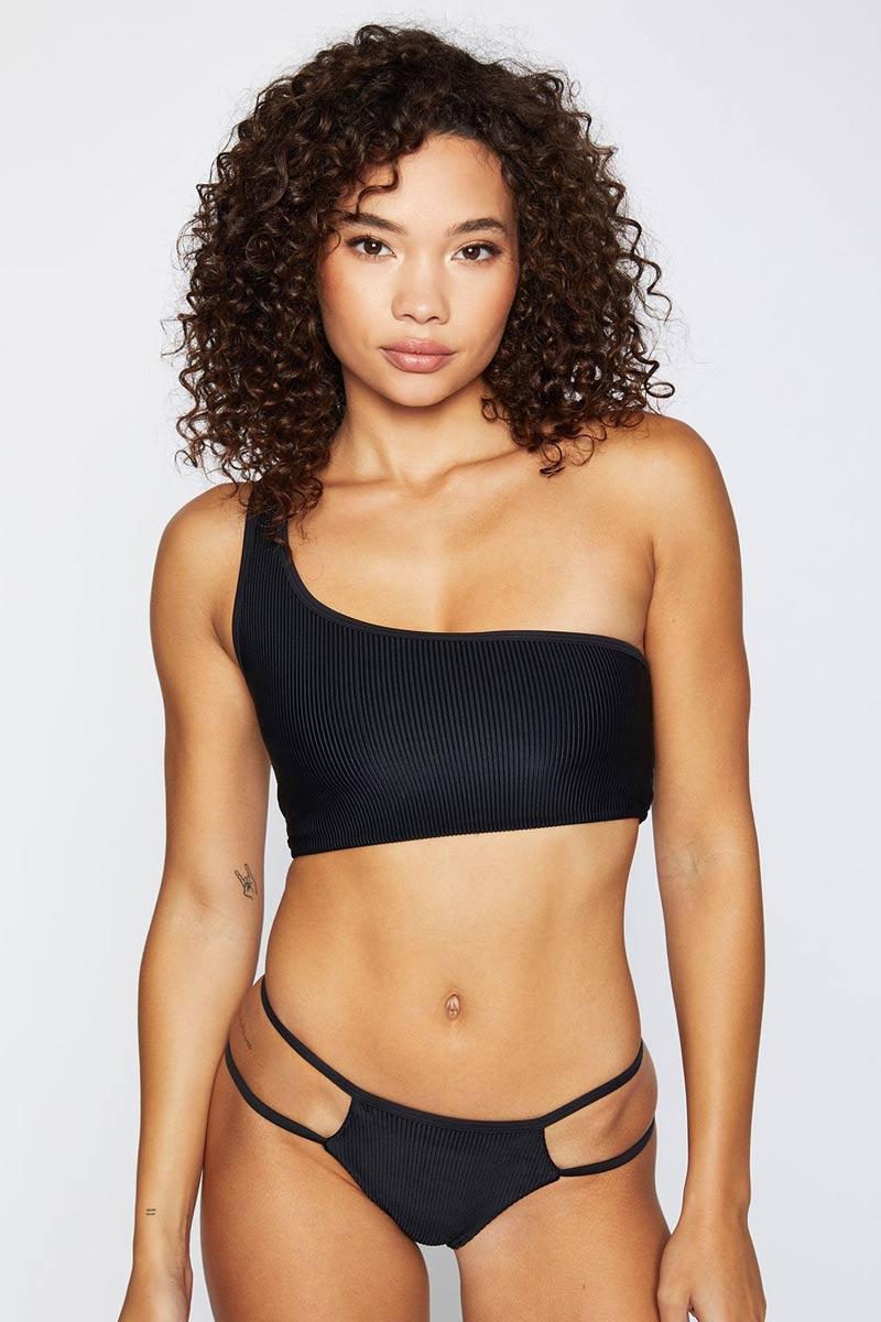 FRANKIES BIKINIS Jaymi Top - Black Bikini Top | Black|Jaymi Top - Features:  Luxe Ribbed Fabric Adjustable Strap Asymmetrical One shoulder
