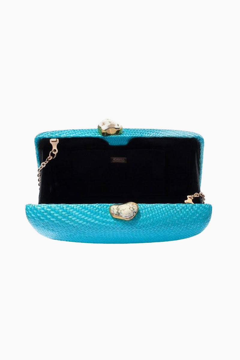 "KAYU Jen Clutch With White Stone - Turquoise Bag | Turquoise| Kayu Jen White Stone Straw Clutch - Turquoise. Features: Handcrafted Includes raffia embroidery and tassel. Shell embellishments and an optional chain strap.  Easily fits standard size cell phone. Measurements: 11"" W x 6.5"" H. - Aerial View, Open"