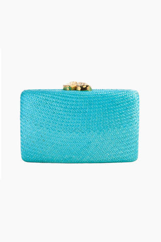 "KAYU Jen Clutch With White Stone - Turquoise Bag | Turquoise| Kayu Jen White Stone Straw Clutch - Turquoise. Features: Handcrafted Includes raffia embroidery and tassel. Shell embellishments and an optional chain strap.  Easily fits standard size cell phone. Measurements: 11"" W x 6.5"" H. - Front View, Closed"