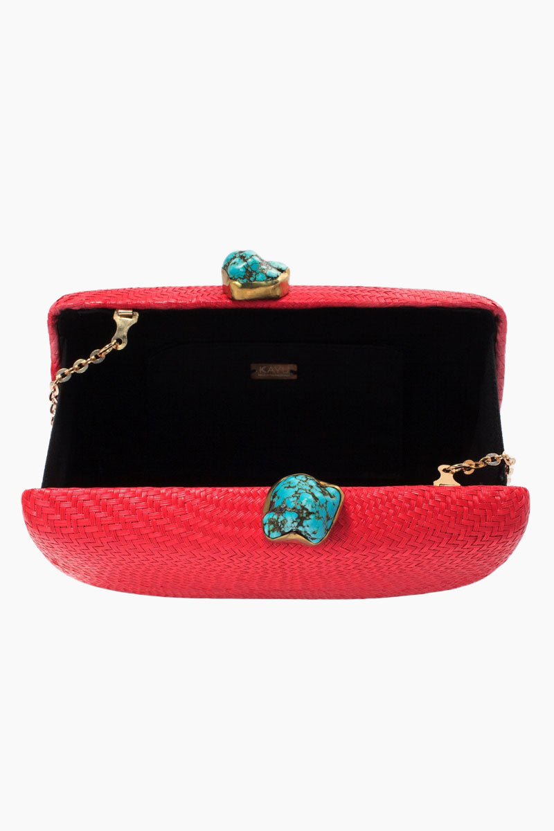 KAYU Jen With Turqoise Stone Clutch - Red Bag   Red 