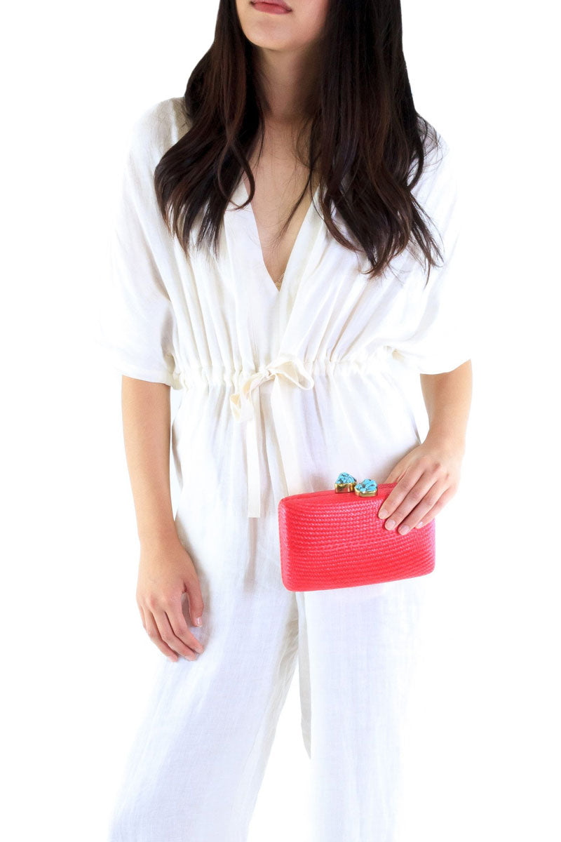 KAYU Jen With Turqoise Stone Clutch - Red Bag | Red| Kayu Jen With Turqoise Stone Clutch - Red. Features:  Straw clutch Turquoise stone Detachable chain strap Push-lock closure Made in Philippines Front View