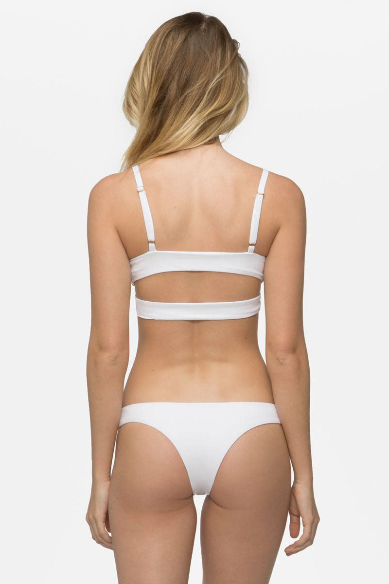 TAVIK Jessi Bikini Top - White Bikini Top | White|Jessi Top - Features: Fixed triangle top Low v neckline Sexy front cut outs Soft & seamless fit Adjustable shoulder straps Dual back bands with metal sliders
