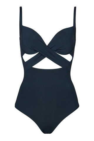 JETS U Wire Cutout One Piece Swimsuit - Ink One Piece | Ink| Jets U/Wire Cutout One Piece