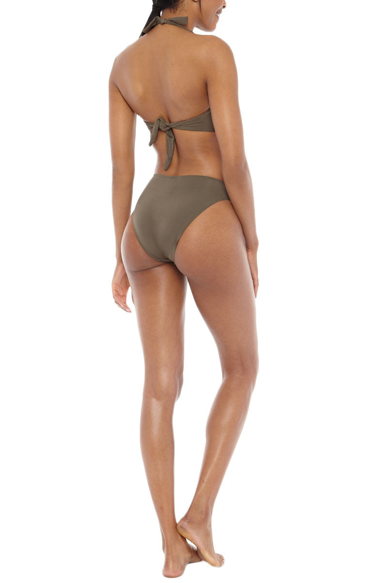 JETS Twist Front Bikini Bottom - Moss Green Bikini Bottom | Moss Green| Jets Twist Front Bikini Bottom - Moss Green Mid-rise twist front moderate bikini bottom in stone green-gray. Asymmetrical twisted front detail  Back View